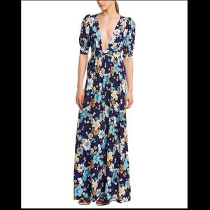 For Love and Lemons Magnolia maxi dress in blue
